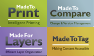 axaio software - MadeToPrint, MadeToCompare, MadeForLayers, MadeToTag - All Logos