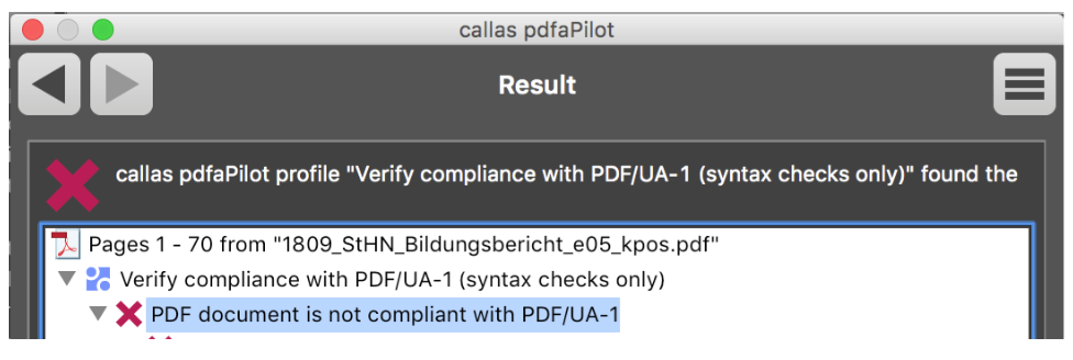 callas pdfaPilot - Validation of PDF/UA - Not OK - Picture