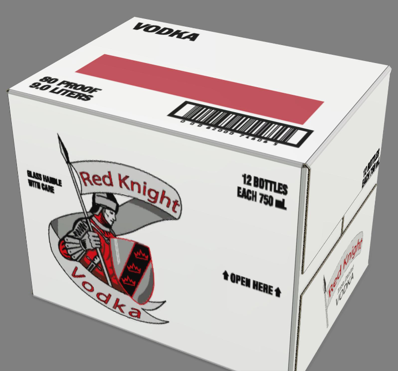 iC3D Opsis Model - Carton Fold - Red Knight Vodka - Closed Box - Picture