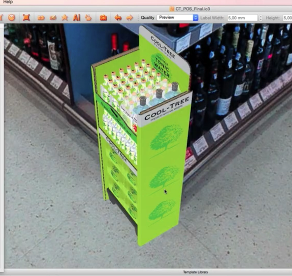 iC3D Opsis Model - Cool Tree Cucumber Tonic Water - POS with 4Packs - in Opsis Environment - Picture