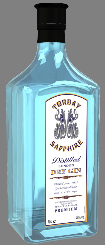 iC3D Opsis Model - Food - Torbay Sapphire Dry Gin Bottle - Picture