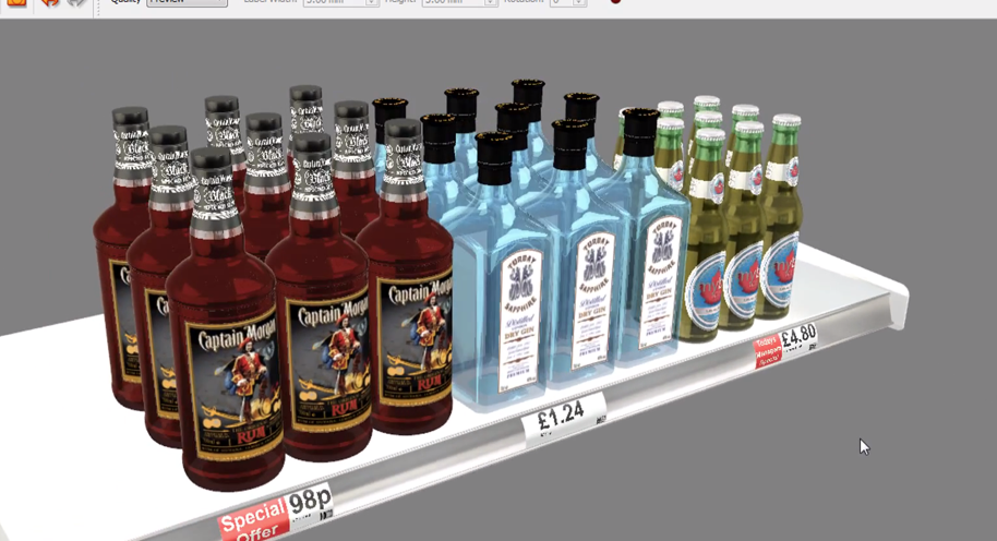iC3D Stacked Shelving Display Bottles - Bild