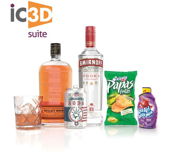 Creative Edge Software - iC3D Suite - 3D-objekt: Glas, Bulleit Bourbon flaska, Soda Can, Smirnoff Vodka flaska,  Papas Fritas Chipspåse, Kool-Aid Easy Mix plastflaska - Bild