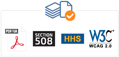 NetCentric Technologies - CommonLook Service - Compliant with ISO 14289-1 / PDFUA, U.S. Section 508, U.S. HHS, WCAG 2.0/2.1 - Combo Icons