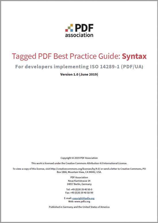 PDF Association - Tagged PDF Best Practices Guide - Front Cover - Picture