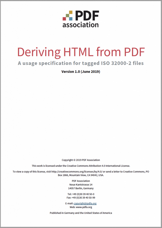 PDF Association - Deriving HTML from PDF Guide - Front Cover - Picture
