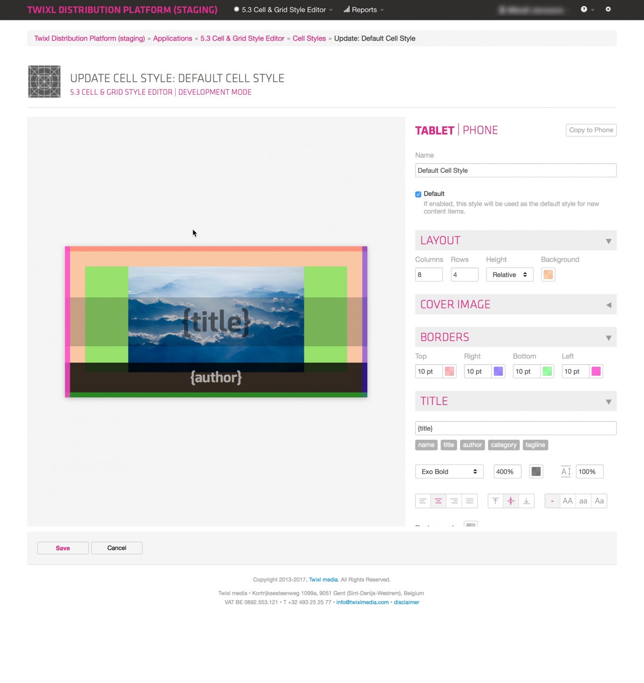 Twixl media - Twixl Publisher 5.5 - UI Design - Browse pages cell styles - Picture